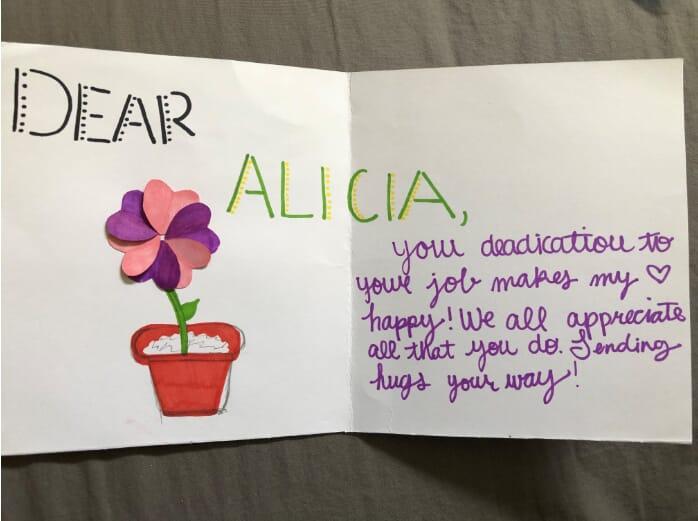 card for Alicia