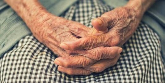 A photo of an elderly's person hands