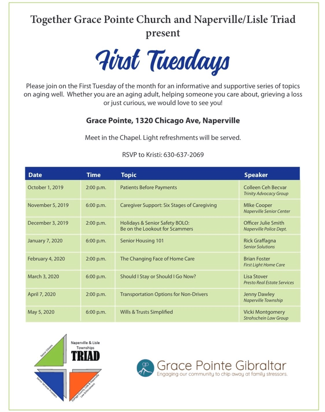 A flyer for First Tuesdays which is a series of topics on aging well.