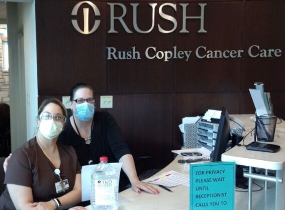 Dropping off supplies to Rush Copley Cancer Care